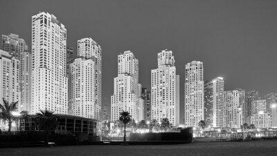 Fototapeta Czarno-białe zdjęcie Dubaju w nocy, Zjednoczone Emiraty Arabskie.
