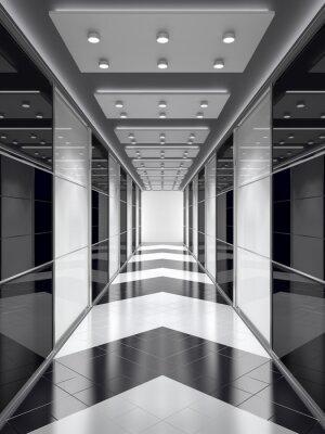 Fototapeta Czarno-biały korytarz.