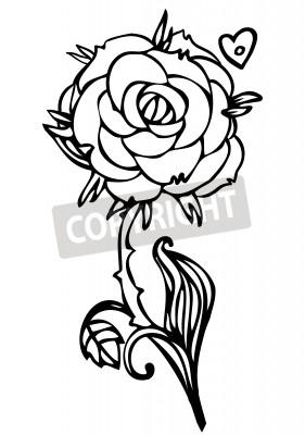 Fototapeta Czarno Biały Rysunek Linii Róży Kwiat Wzór Tatuażu Szkic