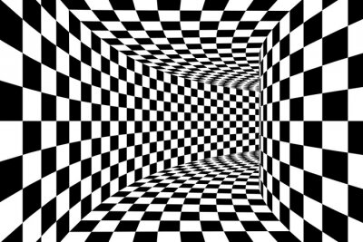 Fototapeta Czarno-biały w kratkę Plac Walled Tunel Abstract Background