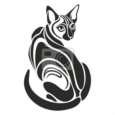 Czarny Kot Egipski Niebezpieczne Poszukuje Grafika Tatuaż Rysunek