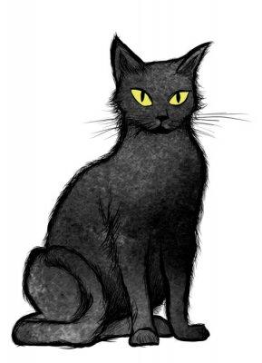 Fototapeta Czarny kot siedzi i patrzy w kamerę