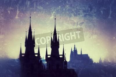 Fototapeta Czechy, Praga, sylwetka wysokiego sekcji Tyn Kościół w nocy.