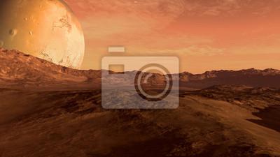 Fototapeta Czerwona planeta z suchych krajobraz, skaliste wzgórza i góry, i olbrzymiego Mars-jak księżyc na horyzoncie, do eksploracji przestrzeni i science fiction środowisk.