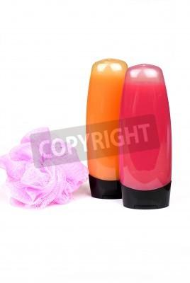 Czerwone I Pomarańczowe Kolorowe Butelki żel Pod Prysznic I Gąbka