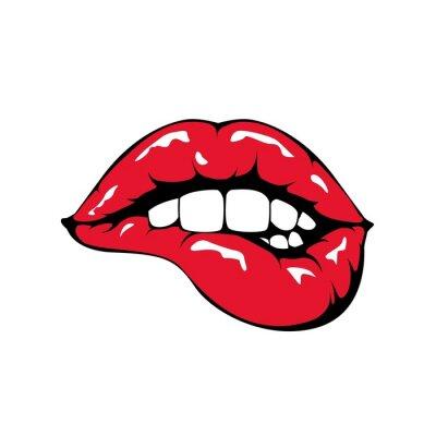 Fototapeta Czerwone usta gryzienie ikonę na białym tle.