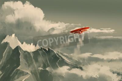 Fototapeta Czerwony dwupłatowiec latający nad górą, ilustracja, cyfrowe malowanie