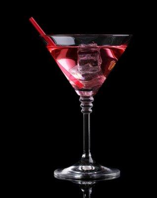 Fototapeta Czerwony koktajl w Szklanka martini samodzielnie na czarnym