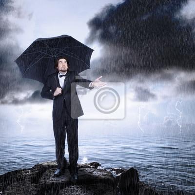Fototapeta Człowiek pod parasolem Sprawdzanie deszcz Jadąc lub Usuwanie