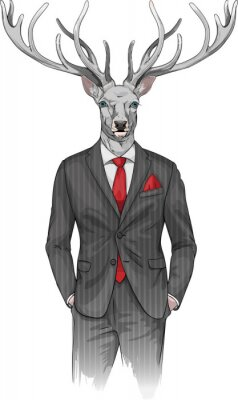 Fototapeta Człowiek z głową jelenia w garniturze