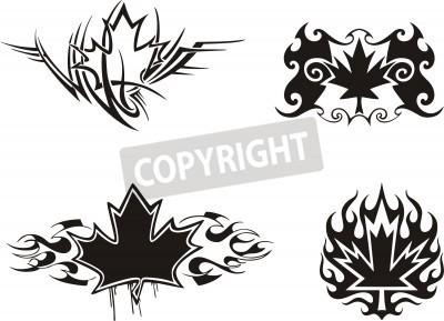 Fototapeta Cztery Liści Klon Kanadyjski Płomień Tatuaż Wzory Winylu Gotowe