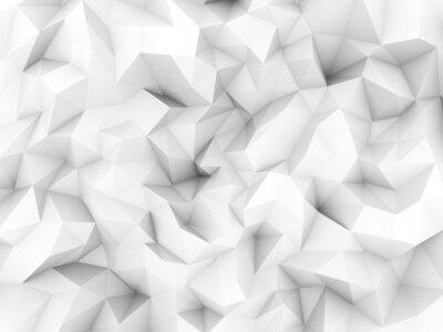 Fototapeta Czyste białe tło nisko poligon od renderingu 3D.
