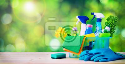 Fototapeta Czyszczenie koncepcji. Sprzątanie, higiena, wiosna, prace domowe, środki czystości