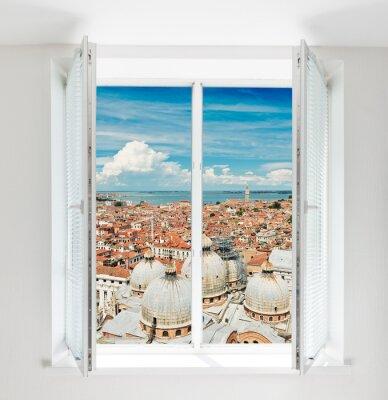 Fototapeta dachy Florencji widział przez okno