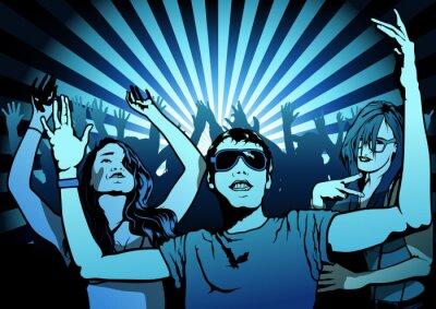 Fototapeta Dancing People on Disco Party - Illustration, Vector
