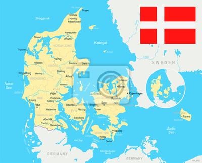 Dania Mapa I Ilustracja Flagi Fototapeta Fototapety Aarhus