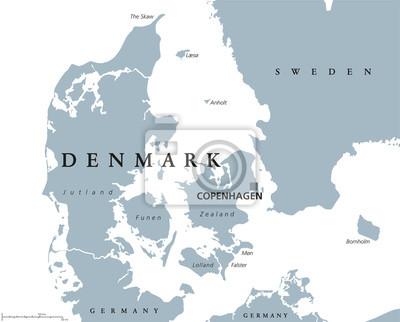 Dania Mapa Polityczna Z Krajami Kopenhaga Kapitalu I Blizniego