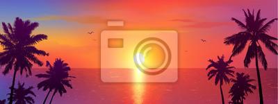 Fototapeta Dark palm trees silhouettes on colorful tropical ocean sunset background, vector illustration