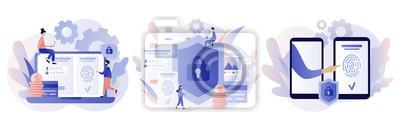 Fototapeta Data protection concept. Scan Fingerprint, Identification system. Modern flat cartoon style. Vector illustration