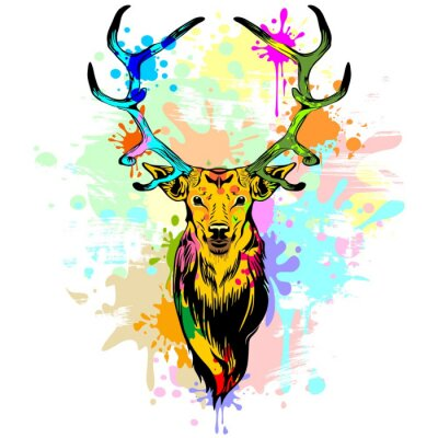 Fototapeta Deer popart Cieknący Farby
