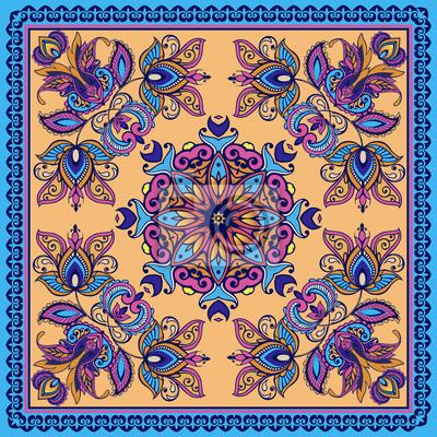 e9701851602254 Fototapeta Dekoracyjny abstrakcjonistyczny tło, kwiecisty doodle koronki  wzór z ramą. Tribal ornament etniczne.