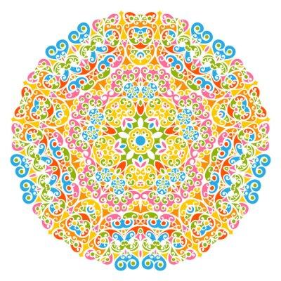 Fototapeta Dekoratives Vektor Element - Buntes, florales und abstraktes Mandala Muster, izolowane auf weißem tła. Kolorowe Streszczenie dekoracyjny wzór - Ozdobny Motif z elementów projektu - Tła.