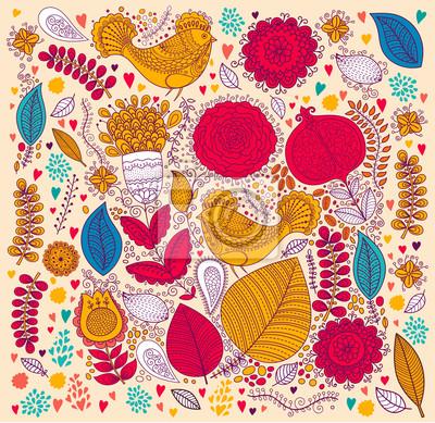 Fototapeta Deseń z ptaków i kwiaty