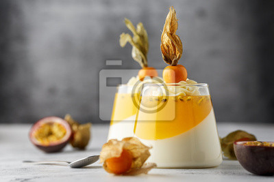 Fototapeta Dessert with Passion Fruit and Physalis