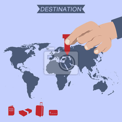 Fototapeta destination pin na mapie świata