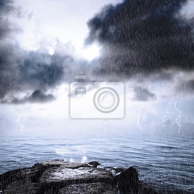Fototapeta Deszcz i burza w oceanie