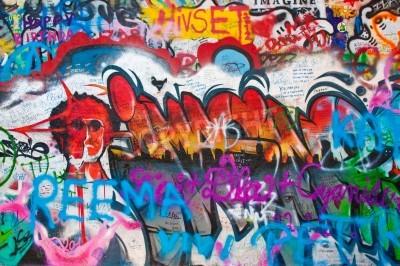 Fototapeta Detail from a famous Lennon wall in Prague