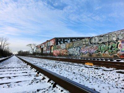 Fototapeta Detroit, Michigan tory kolejowe i śnieg - krajobraz kolorowe zdjęcie
