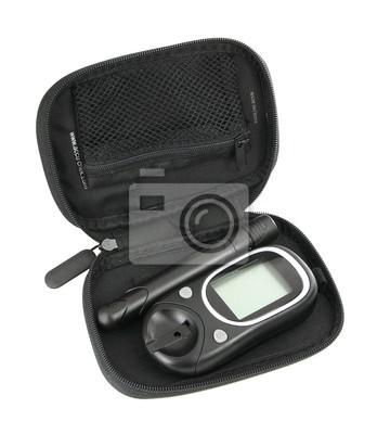 Fototapeta Diabetic glukometr lub cukru we krwi poziom glukozy badania kit iso