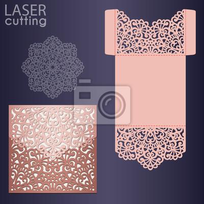 Die Laserowe Cięcie Szablon Wektor Wesele Karty Koperta Zaproszenia