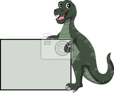 Fototapeta dinozaur kreskówka z pustym znakiem