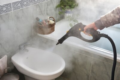 Fototapeta Disinfection and cleaning with steam machine