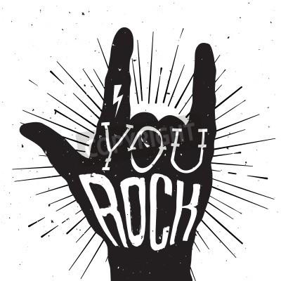 Fototapeta Distressed czarno-biały plakat z napisem skały ręcznie z You Rock tatuaż na nim