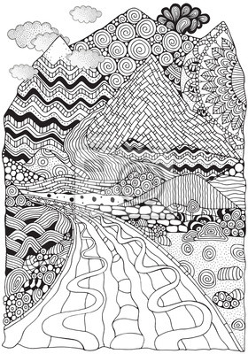 Długa Droga I Góry Krajobraz Zentangle Antystresowe Kolorowanka