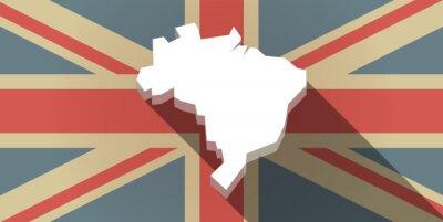 Fototapeta Długi cień UK flag ikona z mapą Brazylia