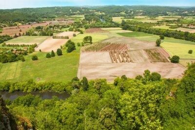 Fototapeta Domme. Vue panoramique sur la campagne. Dordogne. Nouvelle Akwitania