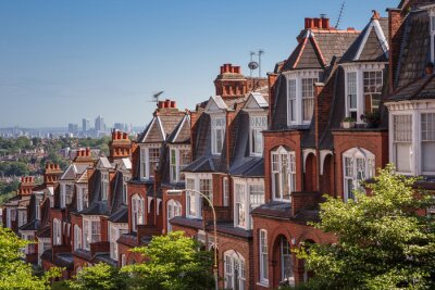 Fototapeta domy murowane na panoramicznym strzale z Muswell Hill, Londyn, Wielka Brytania