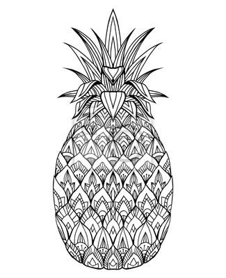 Fototapeta Doodle Ilustracji Ananas Z Boho Wzór Vector Element Do Druku