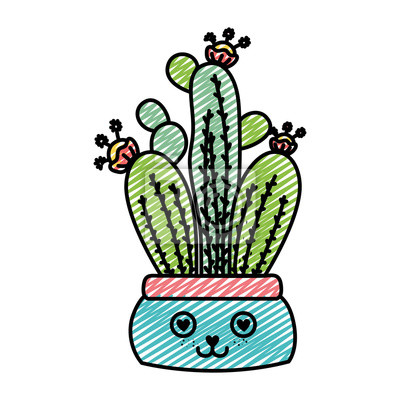 Fototapeta Doodle Kawaii W Miłości Roślin Z Liści Wewnątrz Doniczki