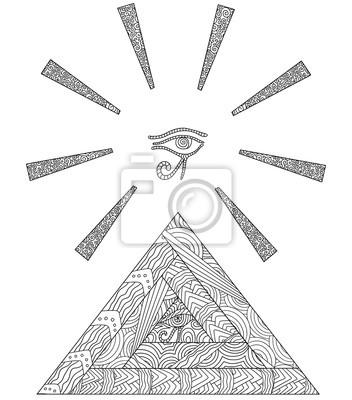 Doodle Kolorowanka Z Symbolem Egipskich Piramid I Oko Horusa