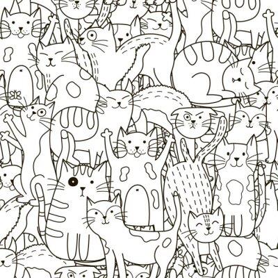 Fototapeta Doodle koty szwu. Czarno-białe tło słodkie koty