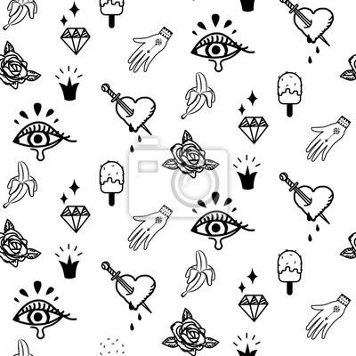 Fototapeta Doodle Modnisia Błysku Tatuażu Stylu Wektoru Bezszwowy Wzór