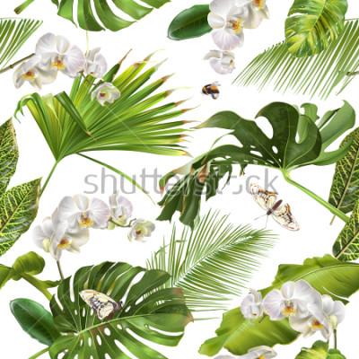 Fototapeta Dostępne botaniczny wzór z tropikalnych liścimi, orchidei kwiatów i motyli na bielu,. Projekt tła dla kosmetyków, spa, wesele, strony internetowej. Najlepsze do druku w stylu hawajskim,