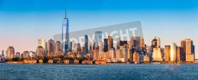 Fototapeta Downtown New York skyline panorama z Ellis Island w planie