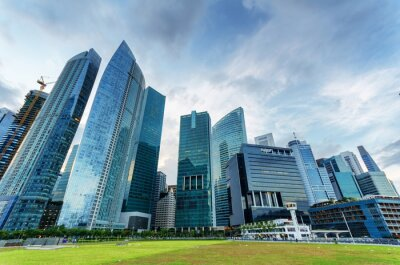 Fototapeta Drapacze chmur w dzielnicy finansowej w Singapurze