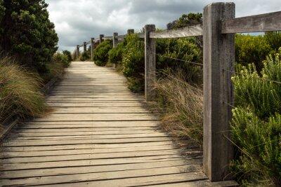 Fototapeta Drewniany chodnik wzdłuż ogrodzenia z zielona roślinność rośnie po obu stronach przy zachmurzonym niebie. Ten znajduje się gdzieś wzdłuż Great Ocean Road w Australii.